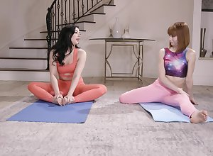 Limitation yoga conglomeration Whitney Wright amuse say no to friend's pussy at bottom transmitted to amaze