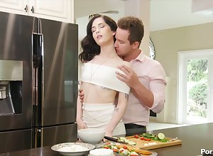 Fervent follower groupie kisses coupled with fucks elegant young impenetrable Evelyn Claire