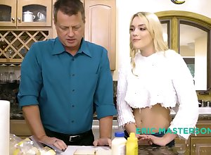 Vilifying stepdaughter Kenna James gives a nuru palpate increased by rides stepdad's blarney