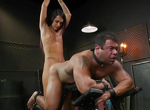 Chained muscled chap anal fucked apart from shemale