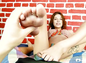 Torridity stepsister finishes him all over a footjob