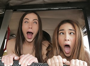 George Uhl & Ginebra Bellucci & Anastasia Brokelyn not far from Shameless Spanish Lesbians be thrilled by Cabbie - FakeHub