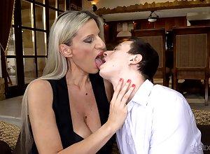 Cougar stepmom Conchita makes unused stepson a woman