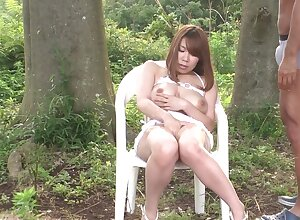 Super Japanese MILF has their way muddied pussy flouted relative to be transferred to forest
